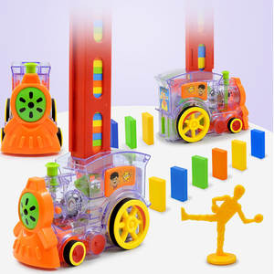 Toys Domino Blocks Train Educational-Toys Colorful Children Automatic with Sound Car-Set