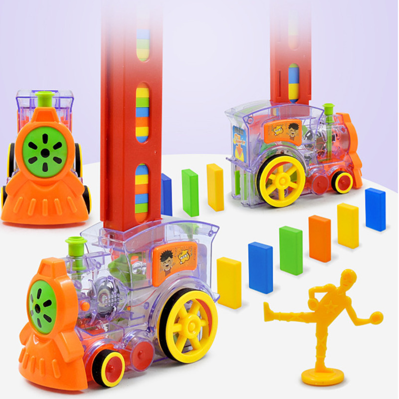 Electric Automatic Laying Domino Brick Train With Sound Car Set Toys For Children Colorful Dominoes Games Educational Toys Gift