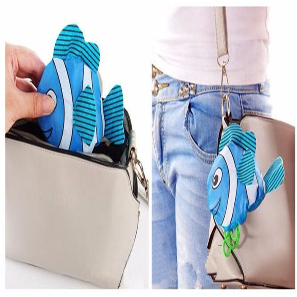 Hot New Eco Storage Handbag Tropical Fish Foldable Shopping Bags Cartoon Folding Portable Bag Women Grocery Polyester Large Bag