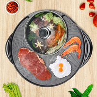 2 In 1 Electric Hot Pot Electric Grill Barbecue Machine Torment Electric Cooker Indoor Grill Baking Flat Pan Table Top Bbq Grill