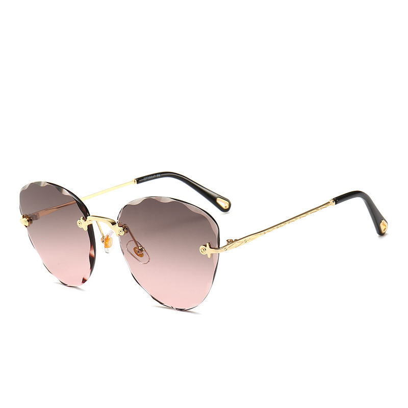Rimless Ocean Sunglasses Women's Fashion Crystal Cut Sunglasses