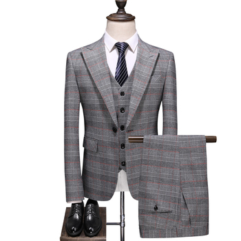 gray luxury tuxedo mens suits plus size 5xl single breasted plaid jacket pants men 3 pieces