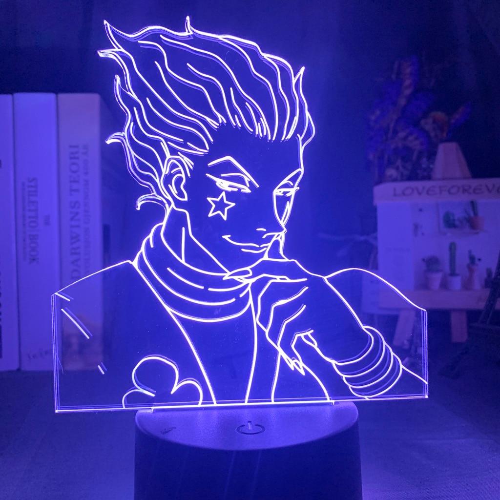 Luz Led nocturna Usb personalizada, luz de noche de dormitorio táctil para niños, Anime Hunter X decoración de pescador, lámpara 3d, Gadgets Hisoka Novedad hongo luz nocturna UE y EE. UU. Enchufe Sensor de luz 220V 3 LED lámpara de hongo colorido Led luces de noche