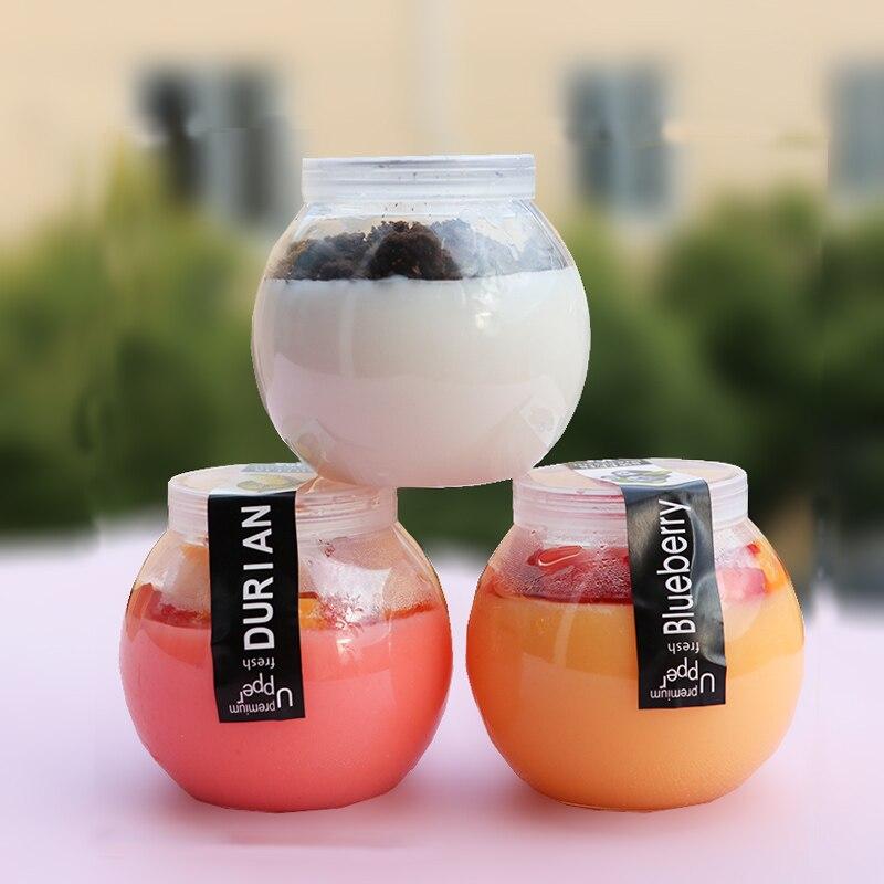 50 шт 160 мл круглая прозрачная бутылка для йогурта, для выпечки пудинга, мороженое желе, пластиковые стаканчики, маленький питомец, десертная упаковка, чашка с крышкой