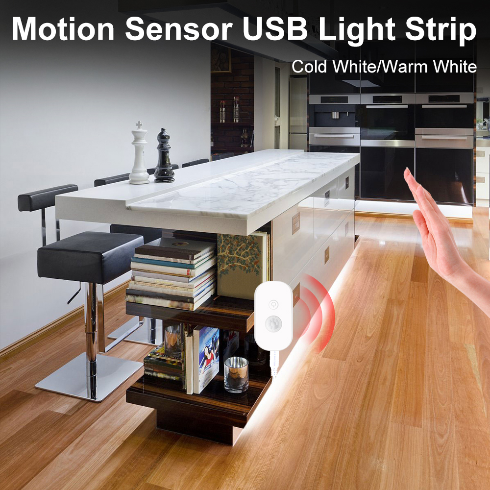 1M 2M 3M 4M 5M Motion Sensor Guarda Roupa Night Lamp Bedroom Wireless Sensor PIR Cabinet Light USB Powered Waterproof Lamp Strip