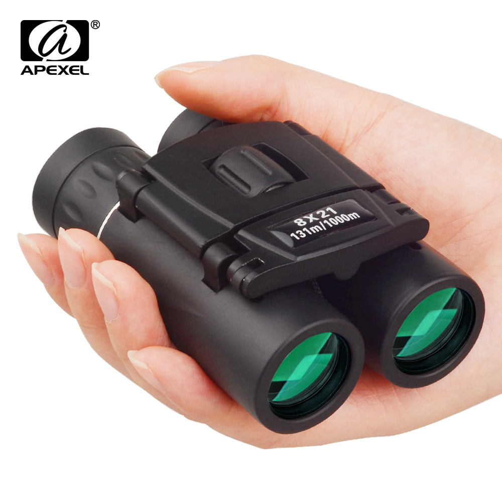 APEXEL 8x21 portable Binoculars HD BAK4 Prism telescope Zoom for World Cup Outdoor bird watching Camping Hiking Travel Sports