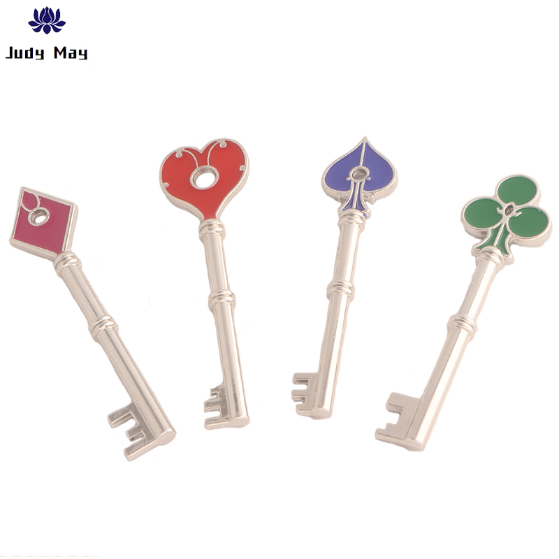 Hot Game Residents Evils Keychain Set RPD Square Plum Heart Key Police Playing Cards Key Metal Torque Men Collection Jewelry image