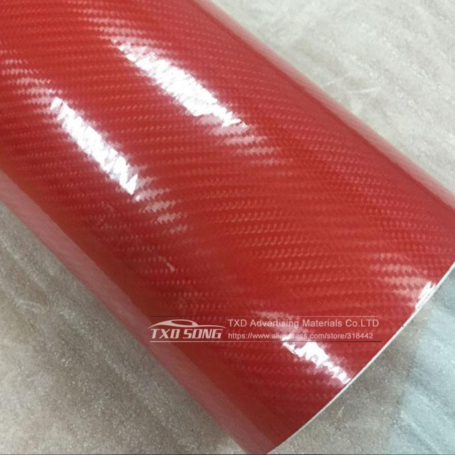 Высокое качество ультра-синий глянец 5D углеволоконная виниловая Обёрточная бумага 4D текстура супер глянцевая 5D углерода Обёрточная бумага s с 10/20 Вт, 30 Вт/40/50/60X152 см - Название цвета: Red 4d texture