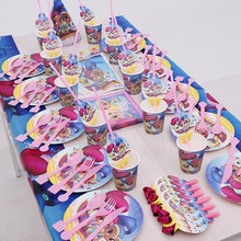 Tableware-Sets Paper-Cup Shimmer Happy-Birthday-Party Plate-Napkin Disposable Pink And