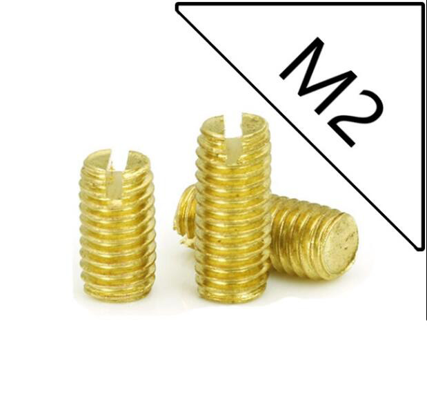 100pcs <font><b>M2</b></font> slotted set screws brass bolts full thread flat ends grub male machine screw 2mm-<font><b>30mm</b></font> length image