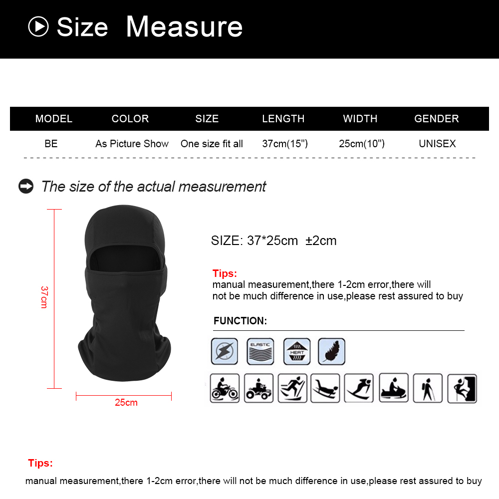 Image 5 - Motorcycle Balaclava Full Face Mask Warmer Windproof Breathable Airsoft Paintball Cycling Ski Biker Shield Anti UV Men Helmet-in Motorcycle Face Mask from Automobiles & Motorcycles