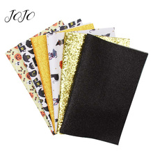 JOJO BOWS 22*30cm 6pcs Faux Synthetic Leather Glitter Fabric sheets Home Party Decoration DIY Hair Bows Handmade Crafts Supplies ahb synthetic leather glitter printed unicorn shiny fabric faux leather sheets diy hair bows fabric handmade crafts materials