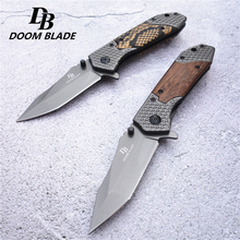 Outdoor folding knife, hiking camping outing pocket folding knife, 5Cr13Mov blade non-slip wooden handle multifunction hiking carabiner w folding knife silver