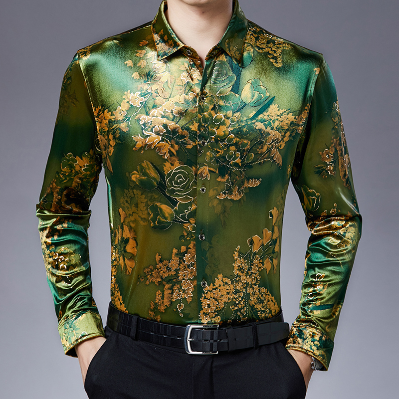 Velvet Gold Flowers Printed Shirts Mens Satin Shirts Quality Loose Shirt Mens Stretch Clothing Office Dress Floral Party Club