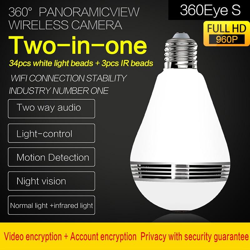 Big Sale■Bulb-Lamp Ip-Camera Support Panoramic-Bulb Wifi Cctv-Fisheye Night-Vision Smart 360-Degree