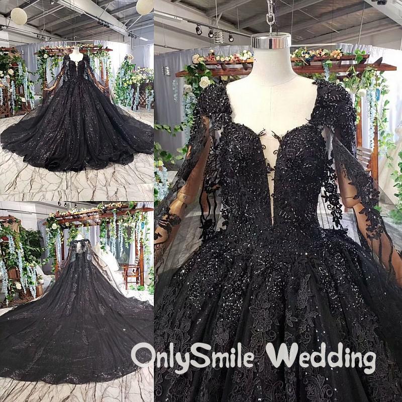 Black Wedding Dresses Long Sleeves Bridal Gowns Ball Gowns For Woman Elegant 2019 Lace Glitter Beads Muslim Vestido De Novia