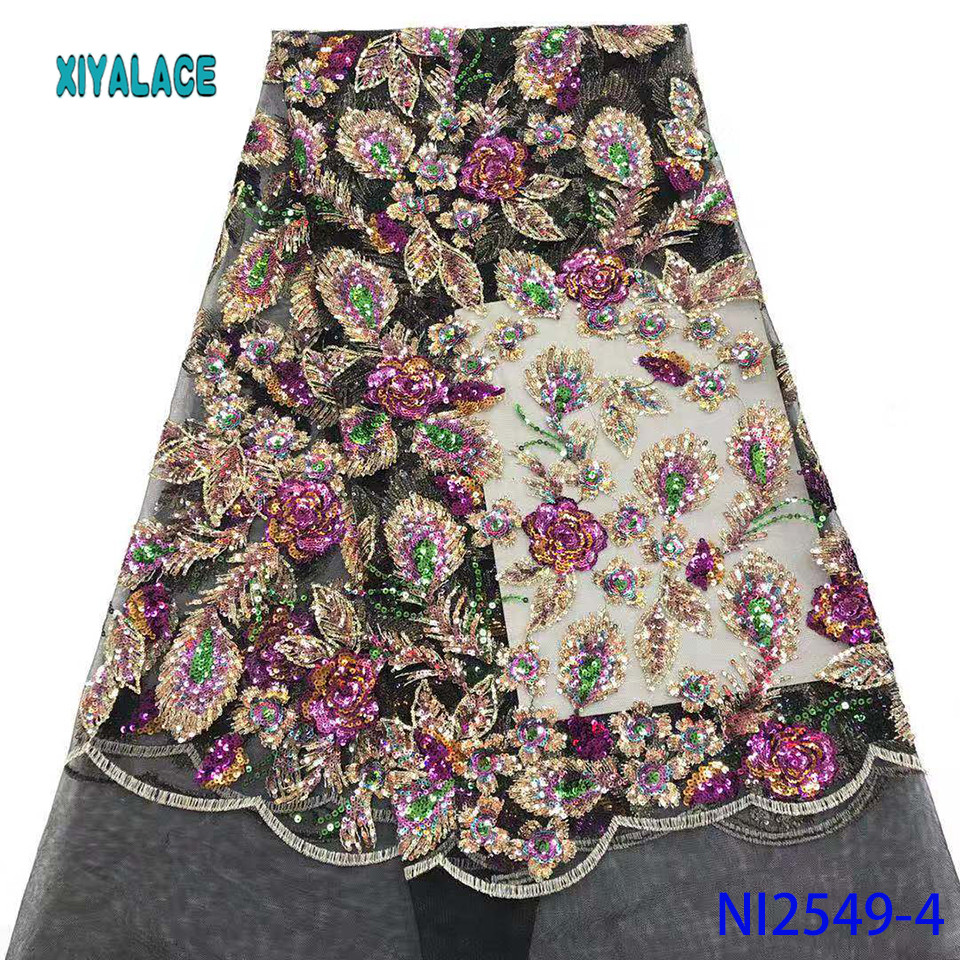 Lace Fabric French Lace Fabric 2019 High Quality African Nigerian Flower Embroidered Tulle Lace Fabric Sequins  YANI2549-4