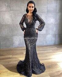 Islámico 2020 negro Sparkle sirena vestido De noche De longitud del piso De Metal pulverización Prom Dress Robe De Soiree Aibye Oriente Medio Dubai