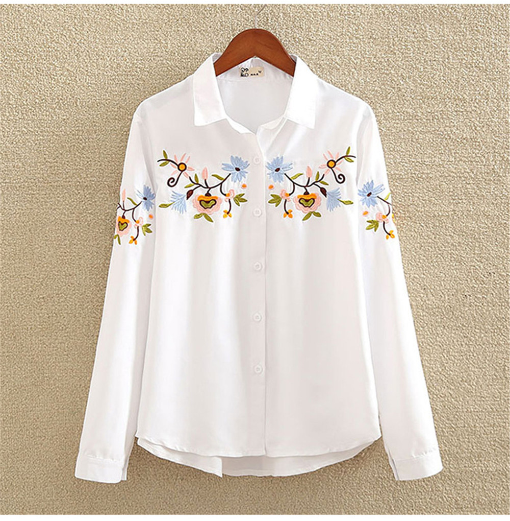 Floral Embroidery White Shirt Blouse  2020 Spring Casual TopTurn Down Collar Long Sleeve Cotton Women's Blouse Feminina 1518 (11)
