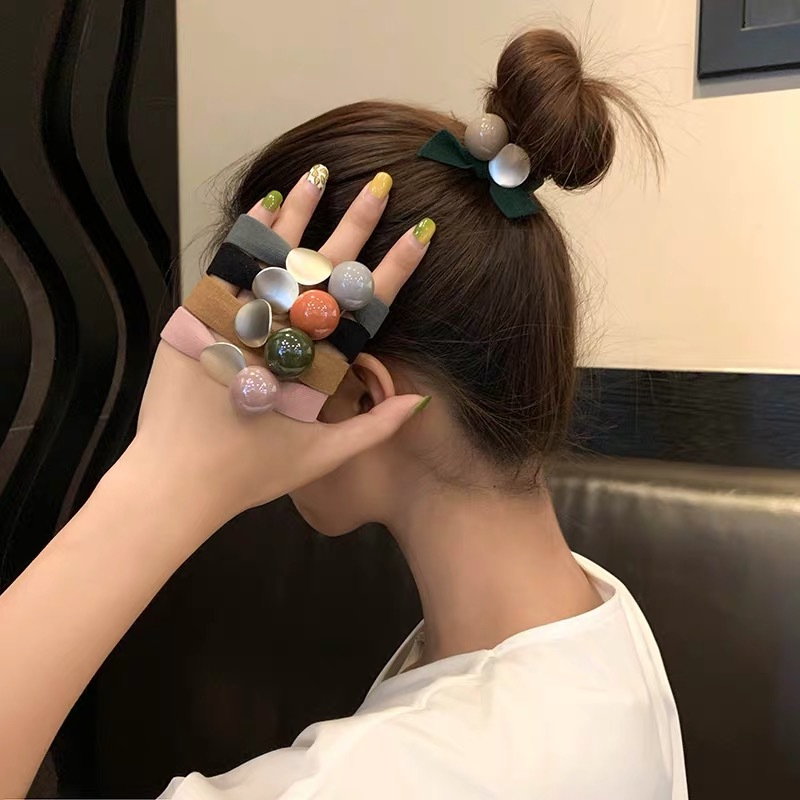 Woman Acrylic Ball Hair Ties Colorful Scrunchies Ponytail Holder Girls Rabbit Elastic Hairband Rubber Rope Ladies Accessories