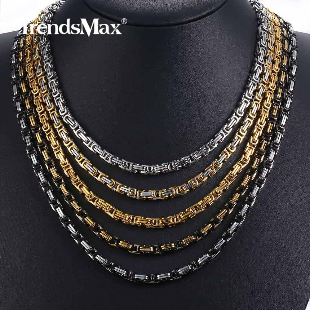 5mm Byzantine Box Link Chain Necklace For Mens Boys Stainless Steel Gold Silver Necklaces Hip Hop Fashion Jewelry KNN19