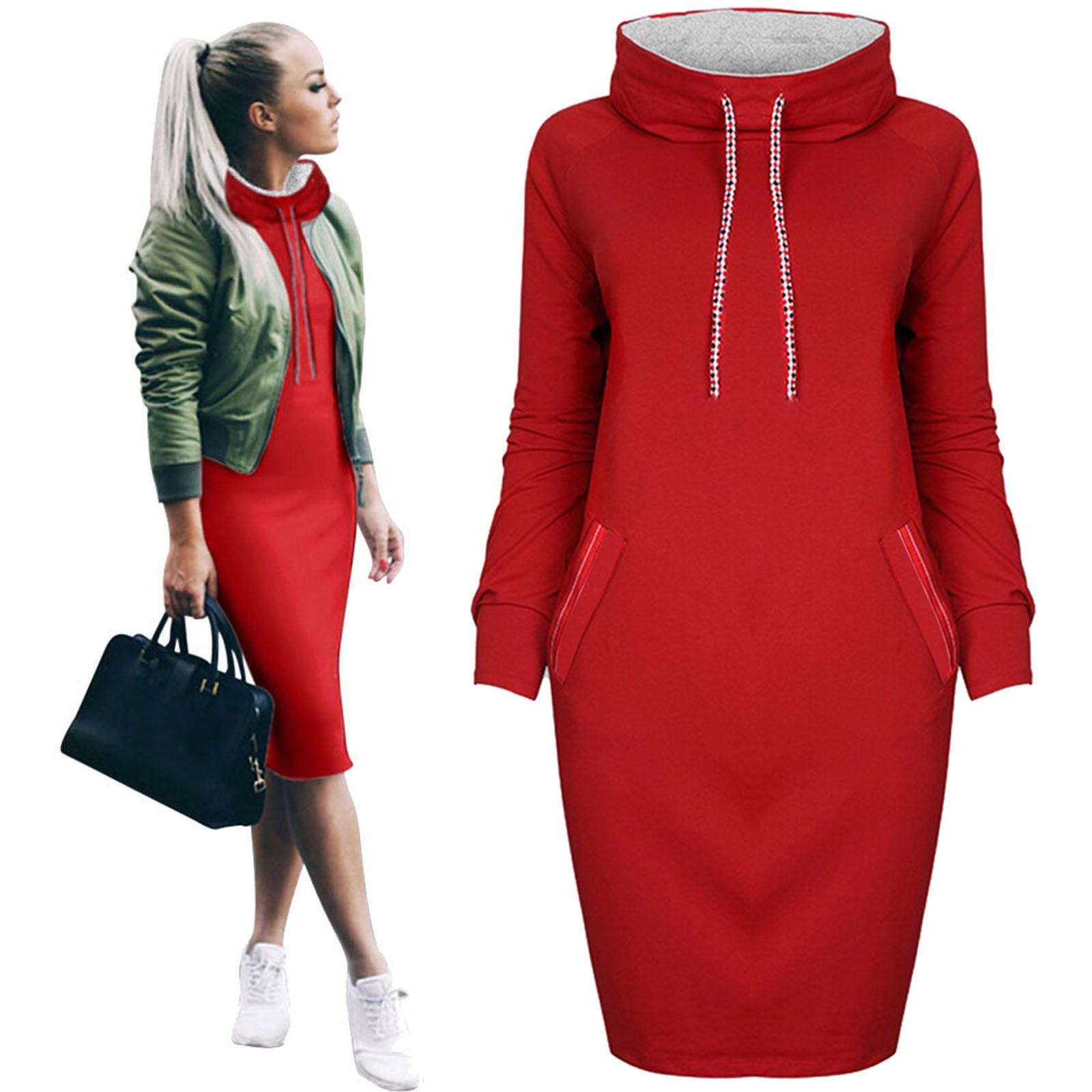 Women Autumn Warm Hooded Dress Casual Winter Shirt Dress Ladies Long Sleeve Mini Fit Slim Sweatshirt