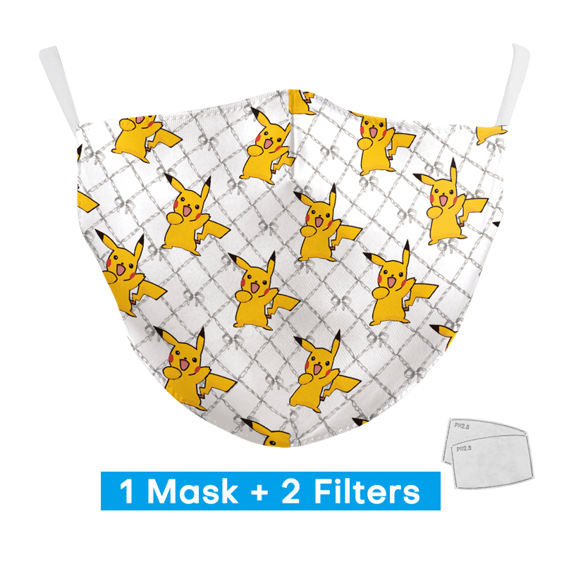 Kid Fashion Protection PM2.5 Mouth Mask Child Reusable Washable Face Mask 2020 Lovely Cute Cartoon Pint Mask With 2 Free Filters