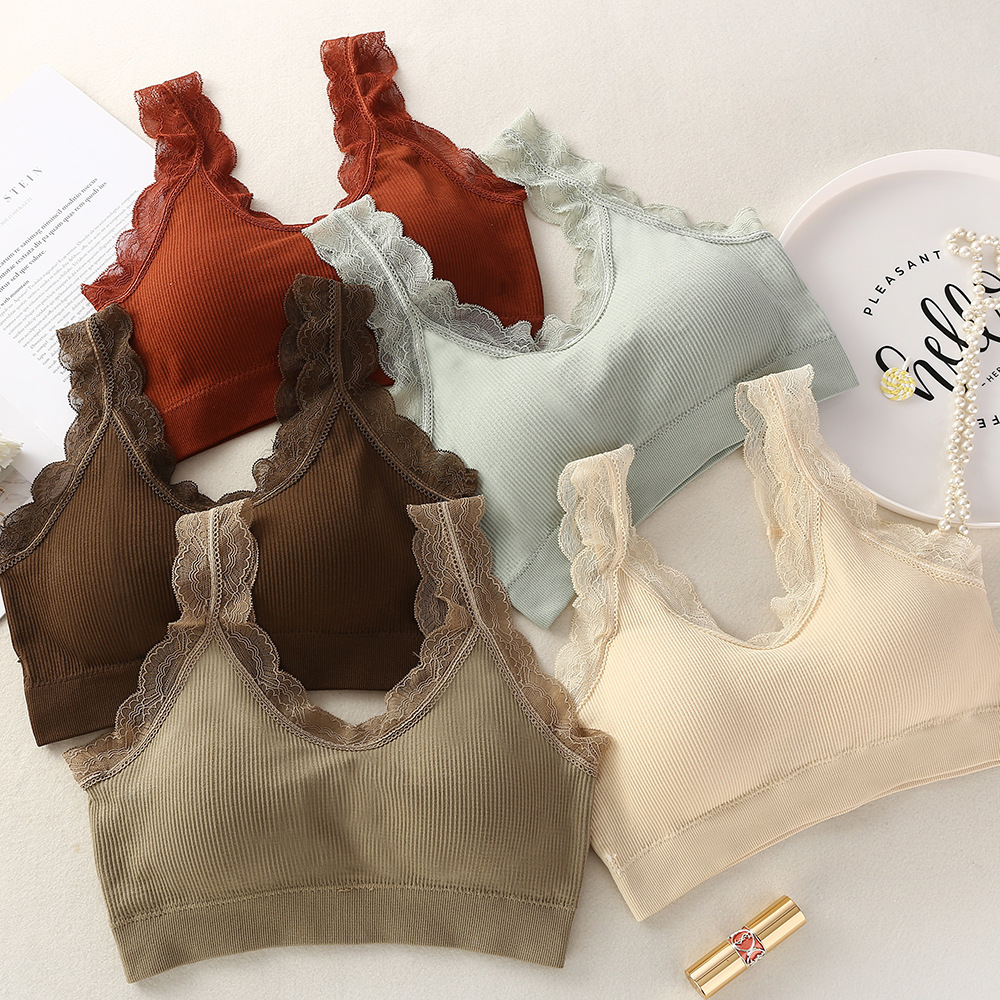 Toppick Seamless Sports Bra Vest-style Thin Lace Bras Sexy Brassiere Sport Femme Solid Color Wireless Crop Top Vest Sport Bh