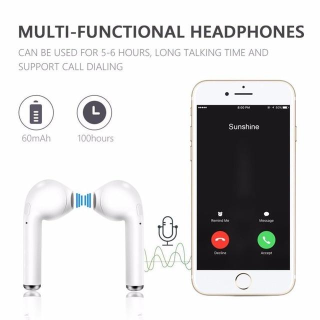i7s TWS Wireless Earphones Bluetooth headphones sport Earbuds Headset With Mic Earpiece For Iphone Xiaomi Samsung Huawei oppo 4