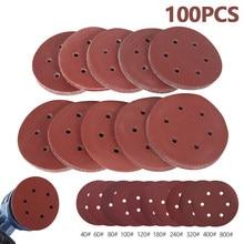 100 pièces 5.9 pouces 150mm papier de verre rond Six trous disque sable feuilles grain 40-800 crochet et boucle disque de ponçage vernis