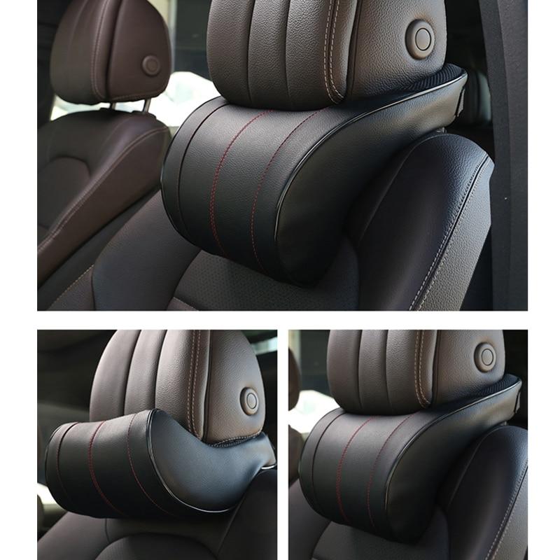 1PCS PU Leather Auto Car Neck Pillow Memory Foam Pillows Neck Rest Seat Headrest Cushion Pad 3 Colors High Quality 1