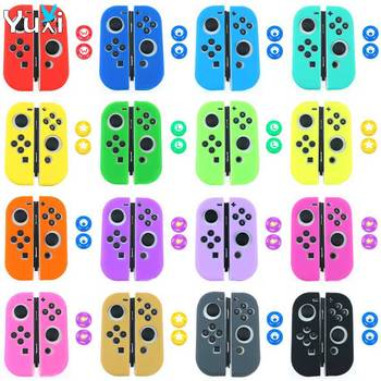 For Nintend Switch NS NX Joy-Con Soft Silicone Protective Skin Case + 2pc Grip Joystick Caps For Switch Joy Con Controller Cover ivyueen 5 in 1 for nintend switch ns console handle grip protective cover with 4 thumb stick caps case for joy con controller
