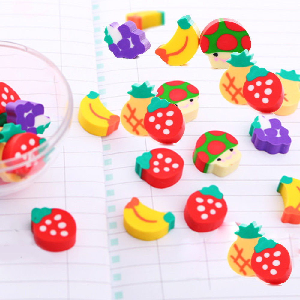 100PCS Novelty Mini Fruit Rubber Pencil Eraser Set Stationery Kids Children Gifts X8.9