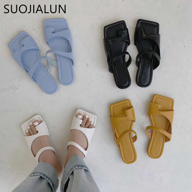 SUOJIALUN 2020 Brand Design Slippers  Women Square Toe Flat Slides Soft Sole Summer Beach Flip Flops Women Outdoor Slides Shoes