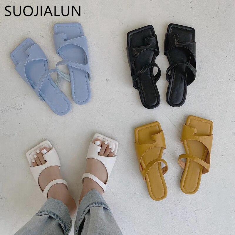 SUOJIALUN 2020 Brand Design Slippers  Women Square Toe Flat Slides Soft Sole Summer Beach Flip Flops Women Outdoor Slides Shoes