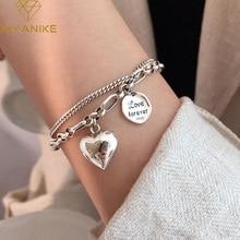 XIYANIKE 925 Sterling Silver Love Letter Heart Double Layer Bracelet Female Unique Design Thai Silver Retro Light Luxury Jewelry