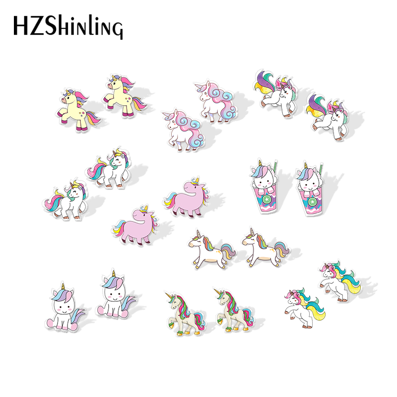 2019 New Cute Unicorn Acrylic Earring Baby Unicorn Resin Earring Epoxy Art Silver Color Stud Earrings