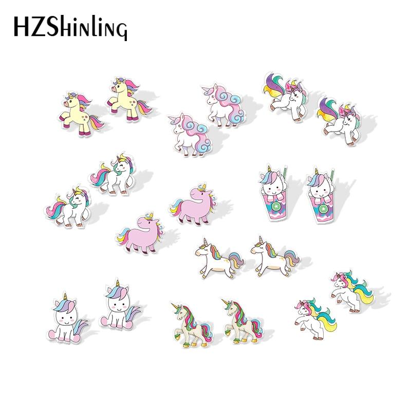 2019 New Cute Unicorn Acrylic Earring Baby Unicorn Resin Earring Epoxy Art Stud Earrings Gifts Girl Boy