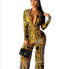 2020 Populaire Vintage Print Lady Jumpsuits Volledige Mouw Sexy Diepe V-hals Rompertjes Wijde Pijpen Broek Vintage Mode Jumpsuits