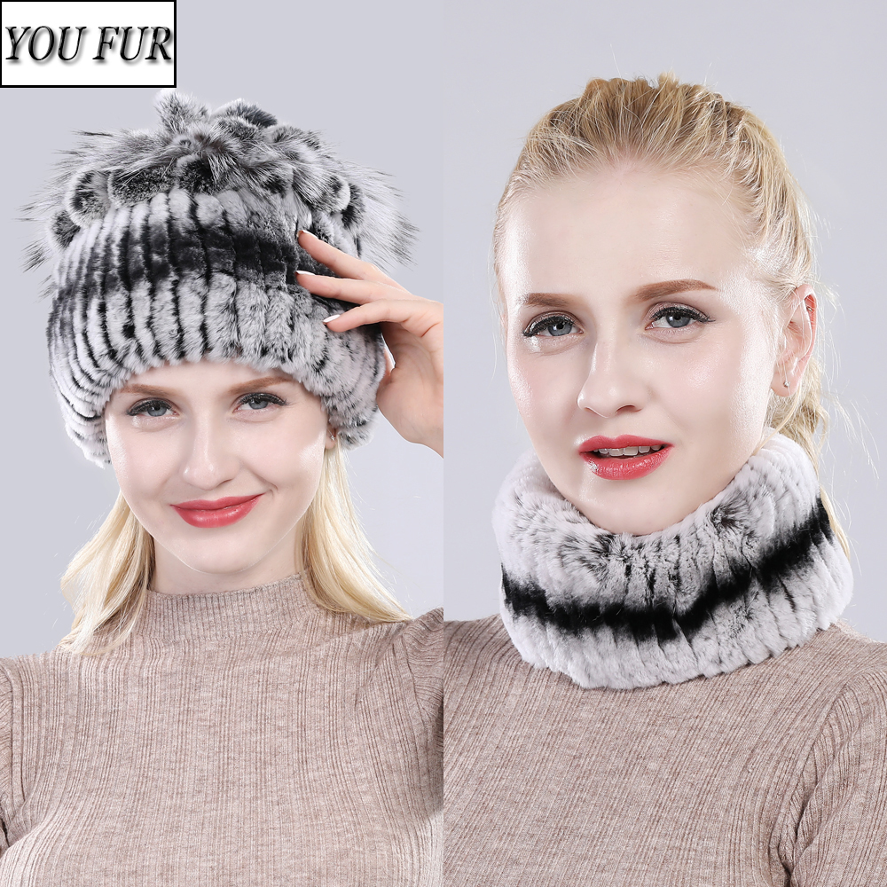 Hot Sale Winter Knit 100% Natural Fur Hats Scarves Sets Women Warm Real Rex Rabbit Fur Hat Scarf Lady Fashiom Rex Rabbit Fur Hat