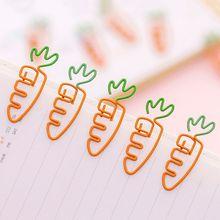 6pcs Creative Kawaii Carrot Shaped Metal Paper Clip Pin Bookmark Stationery School Office Supplies Decoration AXYF