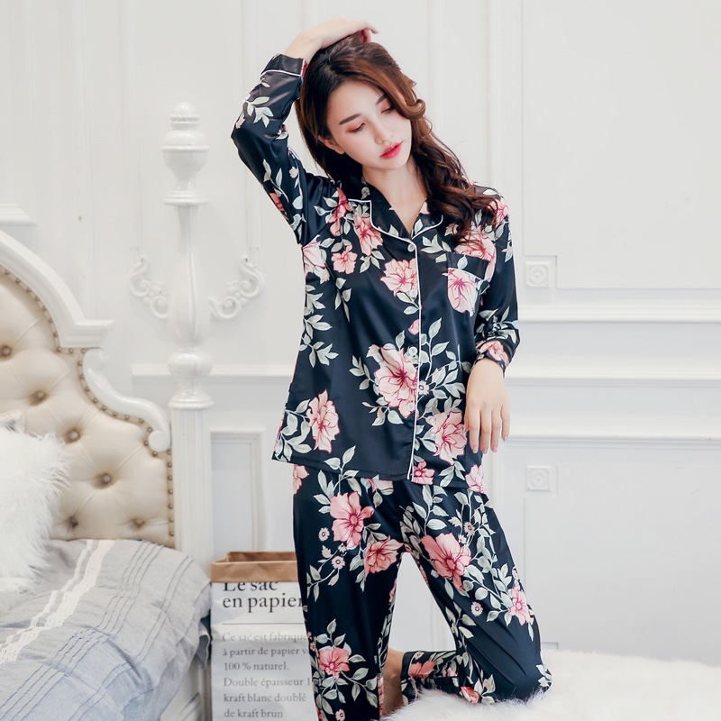 2020 Spring Pajamas WOMEN'S Cardigan Long Sleeve Elasticity Imitated Silk Fabric Printed 3XL Plus-sized Home Wear