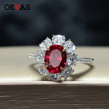 Luxury brand AAAAA+ Oval Red Zircon 925 Sterling silver Wedding rings for women High quality Sparkling CZ Engagement jewelry