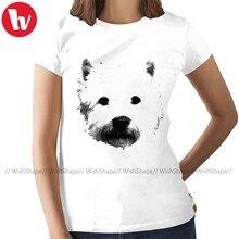 West Highland White Terrier T-Shirt White Terrier Westie T Shirt Print Gray Women tshirt Ladies Tee Shirt