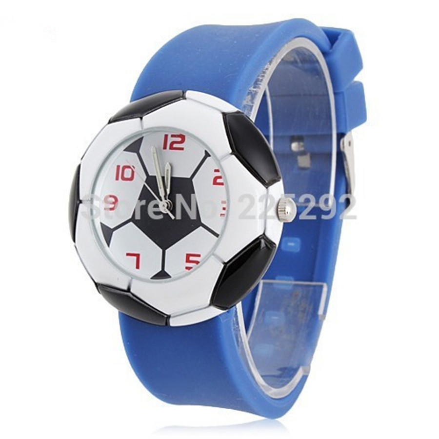 By DHL 100pcs/lot Wholesales Hot Sales 3 Colors Fashion Child Students Gifts Football Clock Watch Silicone Quartz Wristwatch