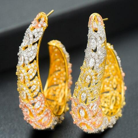 Geométricos para Mulheres Nupcial do Casamento Brincos em Jewely Siscathy Elegante Grande Hoop Brincos Luxo Cubic Zirconia Nigeriano Mulheres