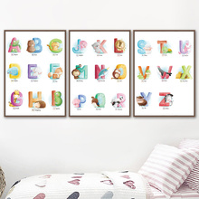 26 Letters Animals Alphabet Deer Nursery Wall Art Canvas Painting Nordic Posters And Prints Pictures Baby Kids Room Decor