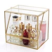 Cosmetics Storage Box Glass Dustproof Acrylic Skin Care Lipstick Jewelry Desktop Dressing Table Racks Top Can Be Put Perfume