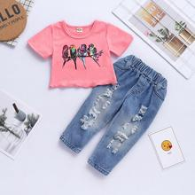 Toddler Girls Clothes Summer Printing Children Clothes T-shirt+Jeans Set Tracksuit Suit Kids Clothes For Baby Girls 1 2 4 5 Year