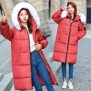 Image 2 - Plus Size 5XL 6XL 7XL Winter Coat Women Hooded Fur Collar Oversize Loose Winter Jacket Women Long Parkas Big Size Down Jacket
